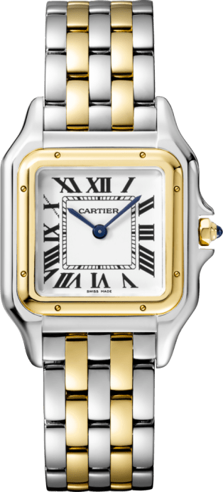Panthère de Cartier watch Medium model, yellow gold and steel