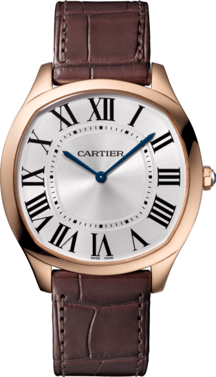 Drive de Cartier Extra-Flat watch Pink gold, leather