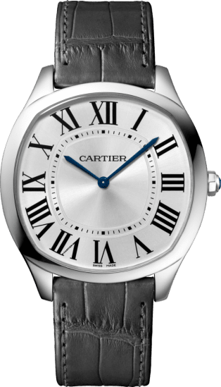 Drive de Cartier Extra-Flat watch White gold, leather