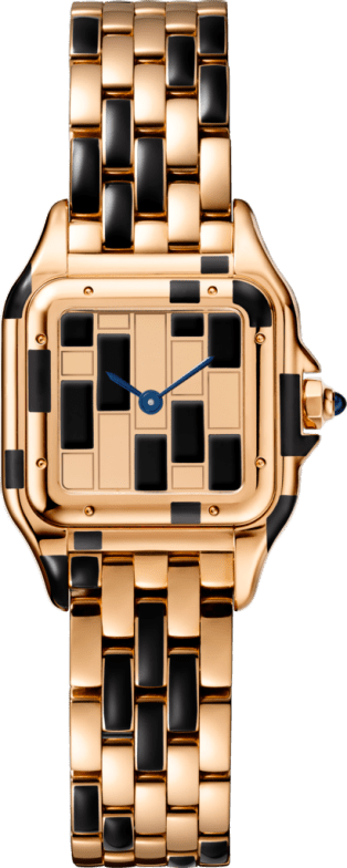 Panthère de Cartier watch Small model, pink gold and black lacquer