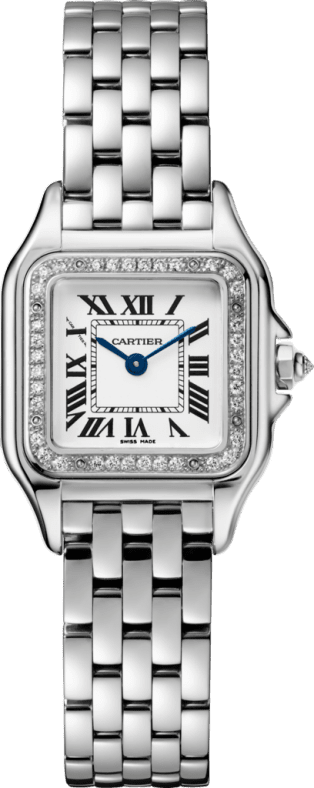 Panthère de Cartier watch Small model, quartz movement, white gold, diamonds