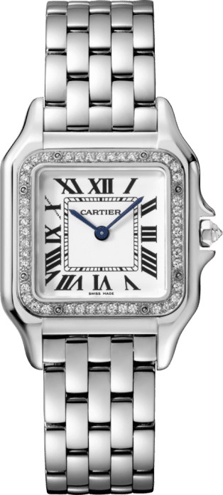 Panthère de Cartier watch Medium model, rhodiumized white gold, diamonds