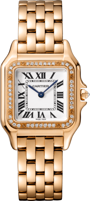 Panthère de Cartier watch Medium model, quartz movement, rose gold, diamonds