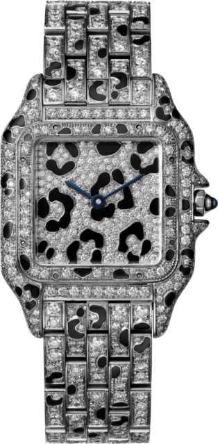 Panthère de Cartier watch Medium model, quartz movement, white gold, diamonds, enamel