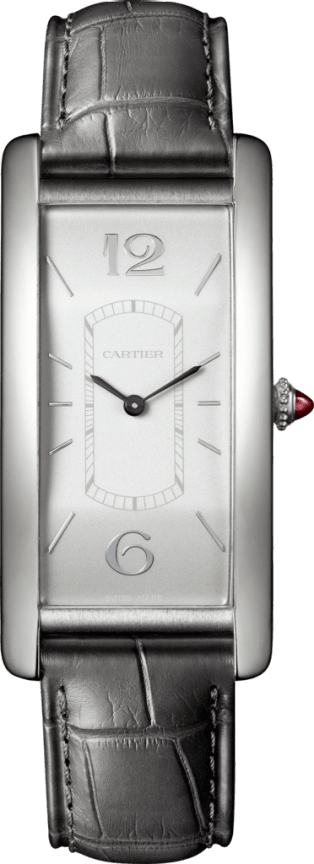 Tank Cintrée watch Manual, platinum, diamonds
