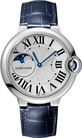 Ballon Bleu de Cartier watch 37 mm, steel, leather