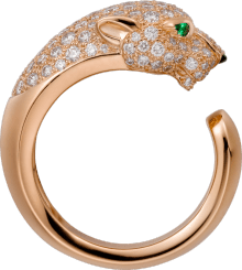 Panthère de Cartier ring Pink gold, diamonds, emeralds, onyx