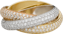 Trinity ring, classic White gold, yellow gold, rose gold, diamonds