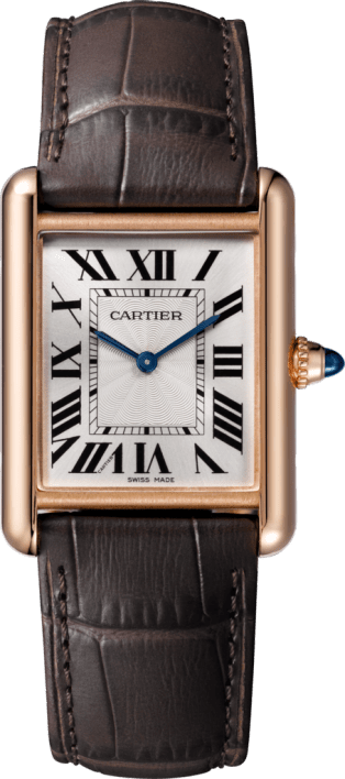 Tank Louis Cartier watch Large model, pink gold, leather