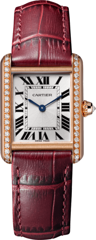 Tank Louis Cartier watch Small model, pink gold, leather, diamonds