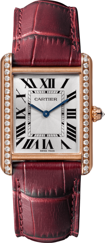 Tank Louis Cartier watchLarge model, pink gold, leather, diamonds