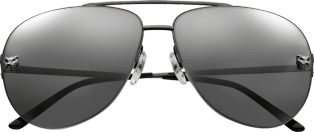Panthère de Cartier sunglasses Metal, black PVD and ruthenium finish, silver-colored gray mirror lenses