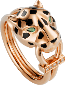 Panthère de Cartier ring Pink gold, tsavorite garnets, onyx, black lacquer, diamonds
