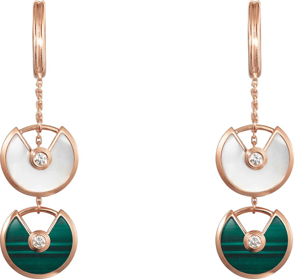 Amulette de Cartier earringsPink gold, malachite, white mother-of-pearl, diamonds