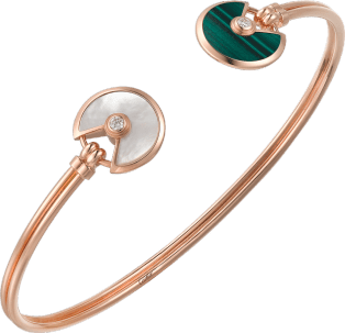 Amulette de Cartier bracelet, XS model Pink gold, malachite, white mother-of-pearl, diamonds