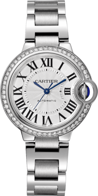 Ballon Bleu de Cartier watch 33 mm, steel, diamonds