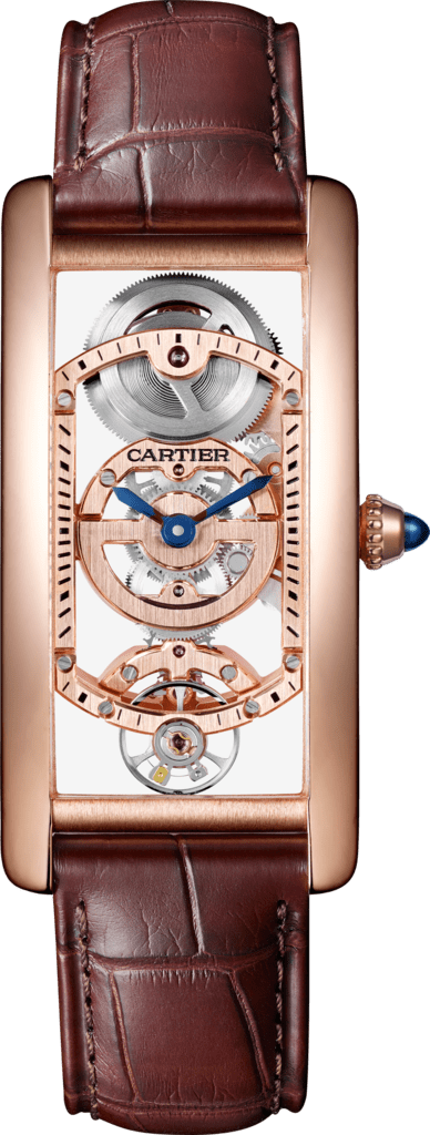 Tank Cintrée watchLarge model, hand-wound mechanical movement, pink gold