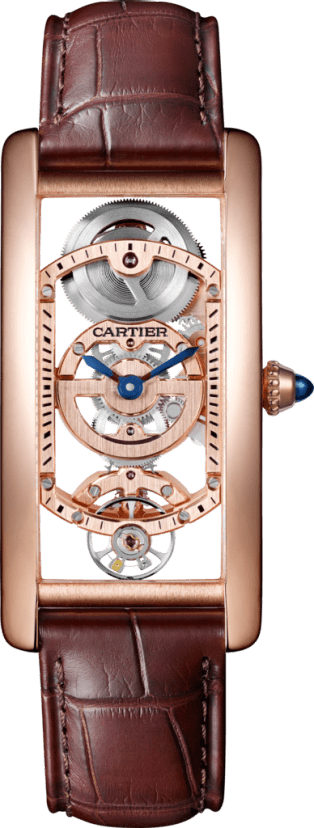 Tank Cintrée watch Manual, 18K pink gold