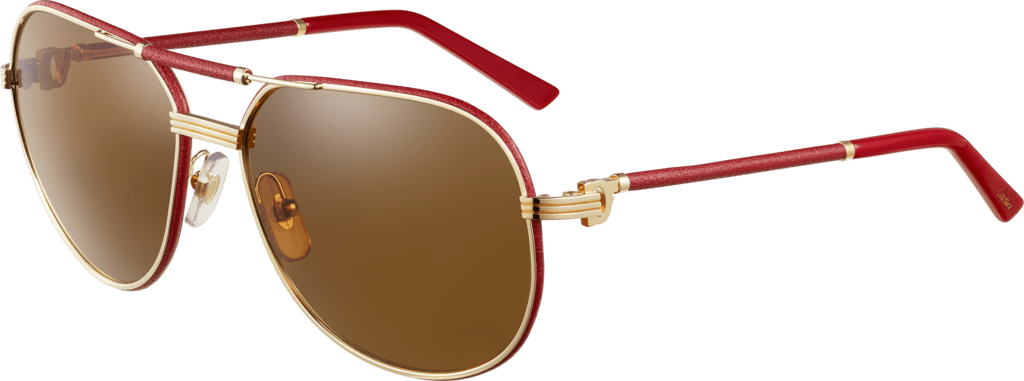 Première de Cartier sunglassesRed leather, golden finish, brown polarized lenses.