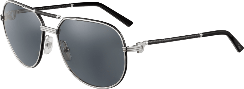 Première de Cartier sunglassesBlack leather, platinum finish, gray polarized lenses.