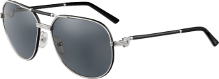 Première de Cartier sunglasses Black leather, platinum finish, gray polarized lenses.