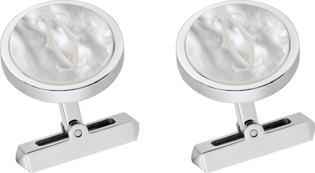 Engraved white mother-of-pearl double C logo cufflinksSterling silver, palladium finish, white mother-of-pearl