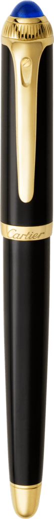 R de Cartier fountain pen Black composite, yellow golden finish details