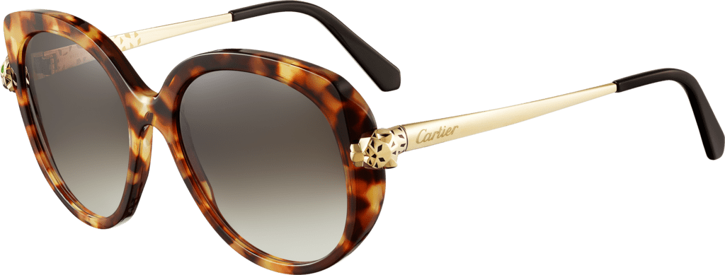 Panthère de Cartier sunglassesCombined tortoiseshell, smooth champagne golden-finish motif