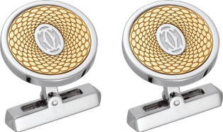 Guilloché double C logo motif cufflinks Solid yellow gold, palladium-finish sterling silver