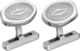 Wax seal motif cufflinks Sterling silver, palladium finish