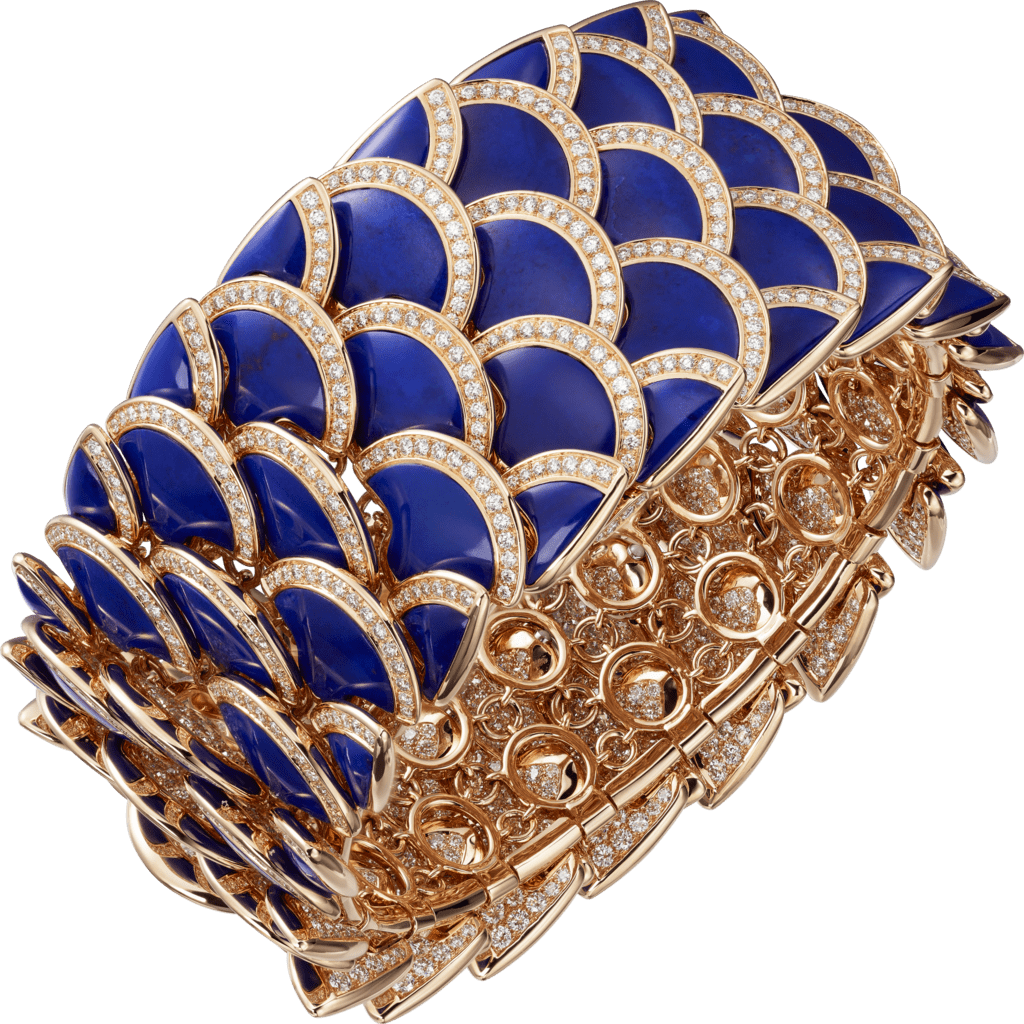 High Jewelry braceletPink gold, lapis lazuli, diamonds.