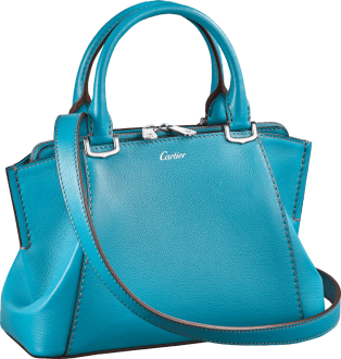 C de Cartier bag, mini model Blue tourmaline color taurillon leather, palladium finish