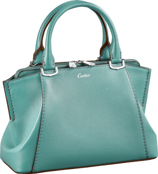 C de Cartier bag, mini model Green beryl taurillon leather, palladium finish