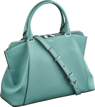 C de Cartier bag, small model Green beryl taurillon leather, palladium finish
