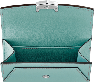 C de Cartier Small Leather Goods, business card holder Green beryl taurillon leather, palladium finish