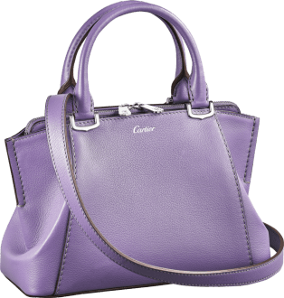 C de Cartier bag, mini model Purple sapphire color taurillon leather, palladium finish
