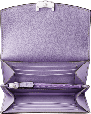 C de Cartier Small Leather Goods, compact wallet Purple sapphire color taurillon leather, palladium finish