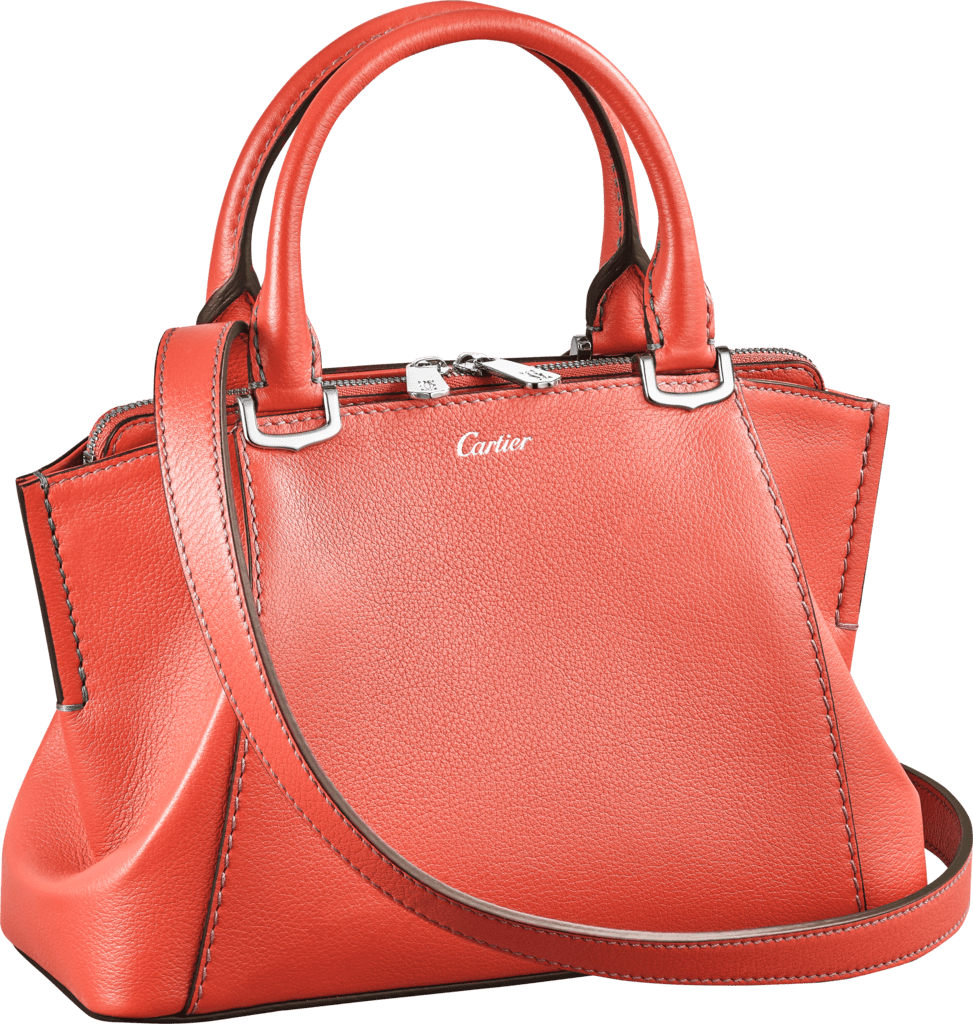 C de Cartier bag, mini modelCoral color taurillon leather, palladium finish