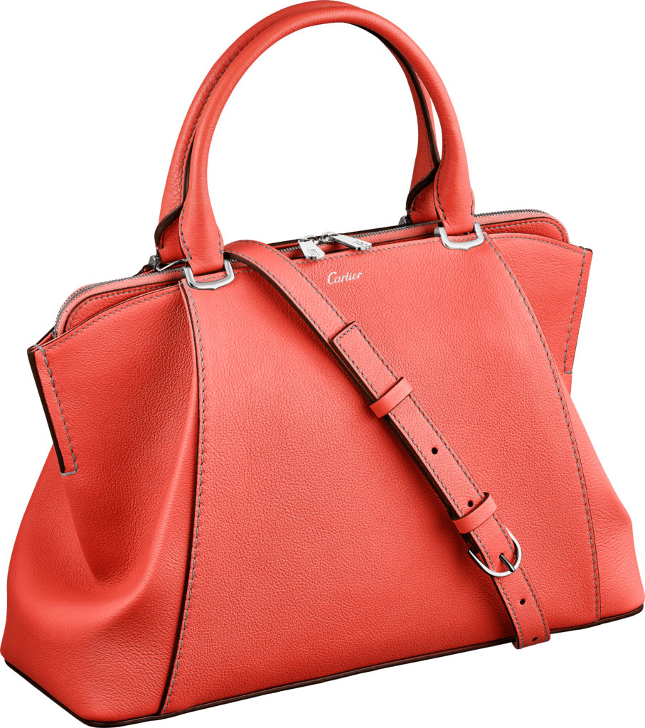 C de Cartier bag, small modelCoral color taurillon leather, palladium finish