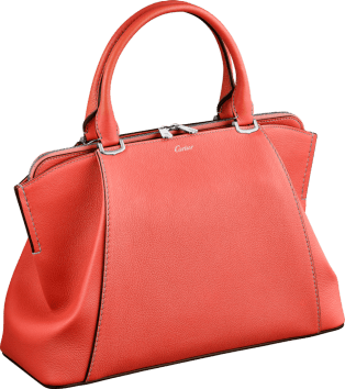 C de Cartier bag, small model Coral color taurillon leather, palladium finish