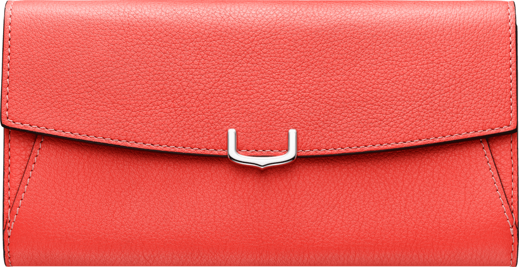Small Leather Goods C de Cartier, international walletCoral color taurillon leather, palladium finish