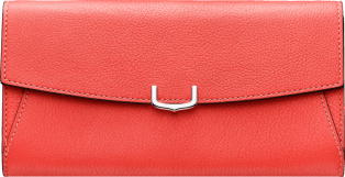 Small Leather Goods C de Cartier, international wallet Coral color taurillon leather, palladium finish