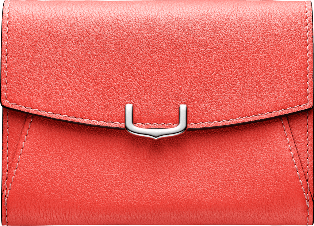 C de Cartier Small Leather Goods, compact walletCoral color taurillon leather, palladium finish