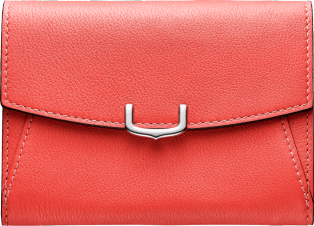 C de Cartier Small Leather Goods, compact wallet Coral color taurillon leather, palladium finish