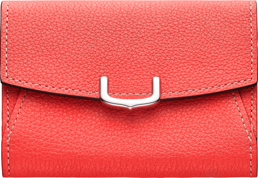 C de Cartier Small Leather Goods, business card holderCoral color taurillon leather, palladium finish