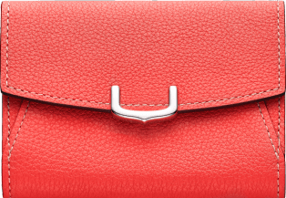 C de Cartier Small Leather Goods, business card holder Coral color taurillon leather, palladium finish