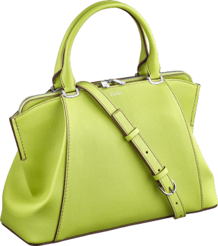 C de Cartier bag, small model Citron magnesite color taurillon leather, palladium finish