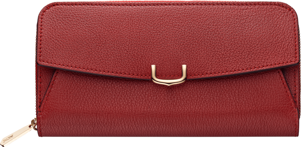 C de Cartier Small Leather Goods, zipped walletRed spinel taurillon leather, golden finish