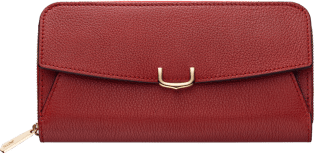 C de Cartier Small Leather Goods, zipped wallet Red spinel taurillon leather, golden finish