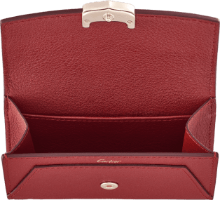 C de Cartier Small Leather Goods, business card holder Red spinel taurillon leather, golden finish